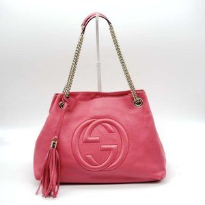 Gucci Soho on Chain Leather Pink Shoulder Bag